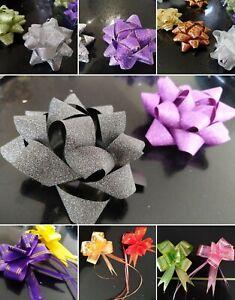 2-5pc LARGE Pull Bows Adhesive Fabric Wedding Ribbon Present Wrap Gift Decor UK