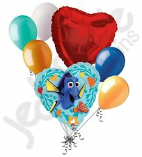 7 pc Finding Dory Heart Valentines Day Balloon Bouquet Be Mine Love You Nemo