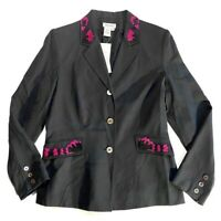 Milano Womens Blazer Size 8 Silk Wool Embroidered 3 Buttons Career