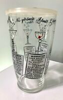 Vintage RETRO Mid Century Glass Drink Mixer Cocktail 6 Recipes Barware With Lid