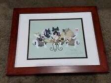 Sara England Signed Matted Print Dogs Wining Wine Art Puppies Framed keeshond?