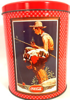 Coca-Cola Collectible Tin Boys & Their Dogs Large Round Decorative Coke Canister