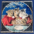 Vintage Kitty Cat Novelty Print Velvet Tapestry Wall Hanging Pillow Purse Fabric