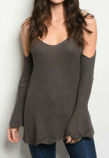 BOUTIQUE WOMEN'S Olive Sexy Cold Shoulder Chunky Knit Boho Sweater Tunic Top MED