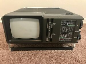 Vintage Sears SR3000 Portable TV AM/FM Radio 1985 Tested Works