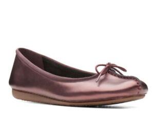 Clarks Ladies Ballet Pumps FRECKLE ICE Aubergine Leather UK Size 7 D EU 41
