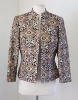 Kasper Metallic Open Front Tapestry Blazer Jacket 6 Career Aztec Mandarin Collar