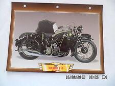 CARTE FICHE MOTO 1937 BSA MODEL G 14 AVEC SIDE CAR