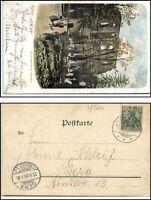 1900 Litho-AK OYBIN nach GERA Reuss gelaufen Motiv: Kloster-Kirche mit Friedhof