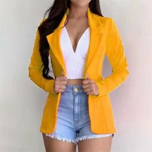 Womens Solid Lapel Long-Sleeve Slim Button Blazer Street Jacket Casual Coats