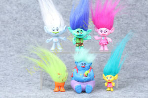 6Pcs Dreamworks Trolls Poppy 10cm Figure real hair Play Toy Doll collection Gift