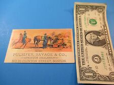 Antique Trade Card Pulsifer Savage & Co Produce Dealer 96 Clinton St Boston TC2