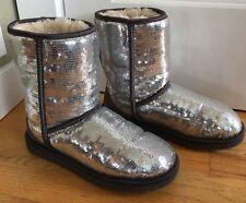 Ugg Australia Women's Size 7 Classic Short Boots Sequins Sparkles Silver 1006739