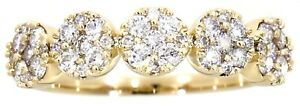 Solid Real Natural Diamond 14K Yellow Gold 0.53 CT Fancy Ring Jewelry For Women