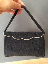 MANHILL RUE CASTILIONE FRENCH FRANCE RARE BLACK BEADED EVENING BAG ART DECO