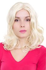 Perücke Damen helles Blond platinblond Mittelscheitel gelockt 50cm GFW409A-613