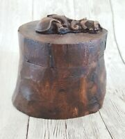 "Natural Wooden Log Trunk Box Timber Jewel Chest Rotate Lid Elephant Teak Wood 3"""