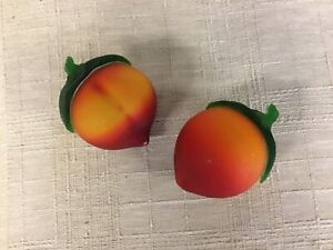 """VINTAGE PAIR OF FROSTED GLASS PEACHES 11 1/2"""" AROUND GREAT COLOR"""