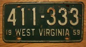 SINGLE WEST VIRGINIA LICENSE PLATE - 1959 - 411-333