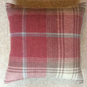 "New 16""x16"" cushion cover handmade in Next Stirling check red beige fabric zip"