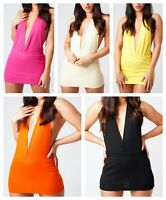 Gold Stretch Mini Dress Club Party Short Micro Plunge Neck Dress 8-20  525