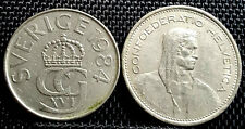 1968 &1984 Sweden (Sverige) 5 FR & 5 Kronor coin. 2pcs F (+ FREE 1 coin) #D2775