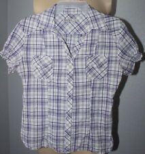 Women's  US made  Lucy Love   Purple  plaid  western    blouse  top   size 1