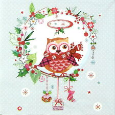 4x Single Table Party Paper Napkins for Decoupage Decopatch Craft Christmas Owl