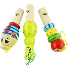 Wooden Cartoon Animal Whistle Music Instrument Toy Baby Kid Favor Educational