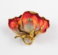 14k Gold Art Nouveau Whiteside & Blank Enamel & Diamond Sweet Pea Flower Brooch