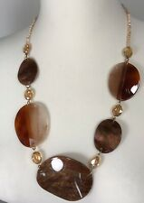 Statement Necklace Resin Browns Golds Champagne Crystals Shiny Gold Tone NEW