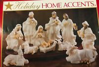 Belk Holiday Home Accents 13 Piece Porcelain Nativity Scene White Gold Trim