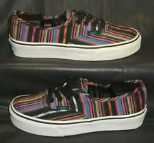 VANS women's multi color canvas lace up casual sneaker oxford shoes size US 6