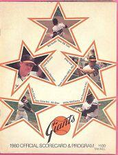 San Francisco GIANTS 1980 Program Scorecard Willie McCovey JACK CLARK