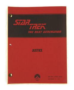 """STAR TREK:TNG ORIGINAL SCRIPT -""""Justice,"""" written by Worley Thorne & Ralph Wills"""