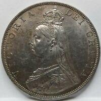 BRITAIN ENGLAND UK Double Florin 4 Shillings 1887 Roman About UNC #A23