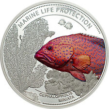 CORAL HIND Fish Silver Proof Coin Palau 2016