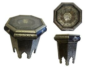 """Moroccan End Table Silver Antique Finish and Leather with Glass Top 22.5"""" x 26"""""""