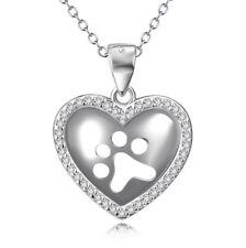 Anhänger Pfote Hundepfote im Herz Sterling Silber 925 und Kette