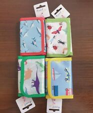 Tri Fold Zip Wallet Childrens Boys Kids Small Police Firetruck Dinosaurs Sharks