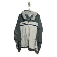 Columbia Hooded Rain Jacket Mens XL Beige Gray Full Zip With Pockets Lightweight