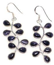 Unique Blue Sunstone Earrings Sterling SILVER Drop Earring Shiny 925 Jewelry NEW