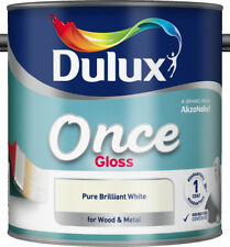 Dulux Once Interior Pure Brilliant White Gloss Paint 2.5L With Glossing Brush
