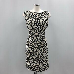 Diane Von Furstenberg Dress Women Size 6 Black Ivory Silk Sleeveless Tie 240094