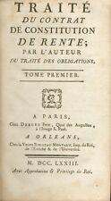 Traité Contrat de Constitution de Rente/Traité Contrat de Change/Pothier/1773