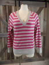 KORS  MICHAEL KORS  Pink/Gray Striped 100% Cashmere V Neck Sweater S