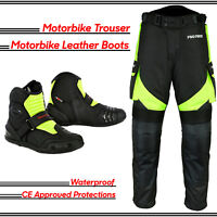 Profirst Motorbike Motorcycle Pant Waterproof Trouser Racing Shoes Leather Boots