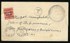 TRISTAN DA CUNHA 1919 EARLY POSTAGE DUES COVER TO USA.SCARCE.  A493