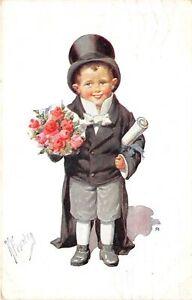 Lot169 Karl Feiertag artist signed postcard boy with flower germany