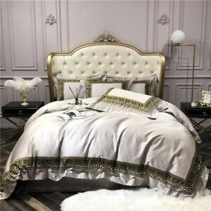 Egyptian Cotton Bedding Set Gold Crown Patchwork Duvet Cover Set Bed Sheet 4Pcs